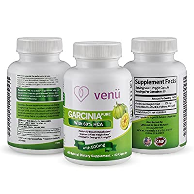Venu Beauty Pure Garcinia Cambogia Extract - 60 Capsules with 60% Hydroxycitric Acid - Dietary Supplement for Weight Loss, Appetite Suppression & Digestive Health