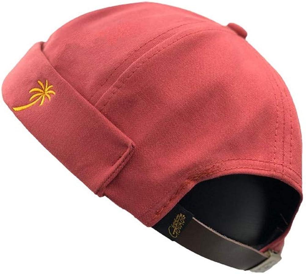KANWEI Men Summer French Brimless Hat Flanging Skullcap Sailor Cap Rolled Cuff Retro Bucket Cap