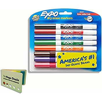 EXPO 86601 Low-Odor Dry Erase Markers, Fine Tip, Assorted Colors, 8-Count, Includes 5 Color Flag Set