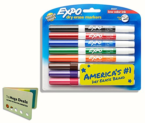 Fine Point Dry Erase Markers - EXPO 86601 Low-Odor Dry Erase Markers, Fine Tip, Assorted Colors, 8-Count, Includes 5 Color Flag Set