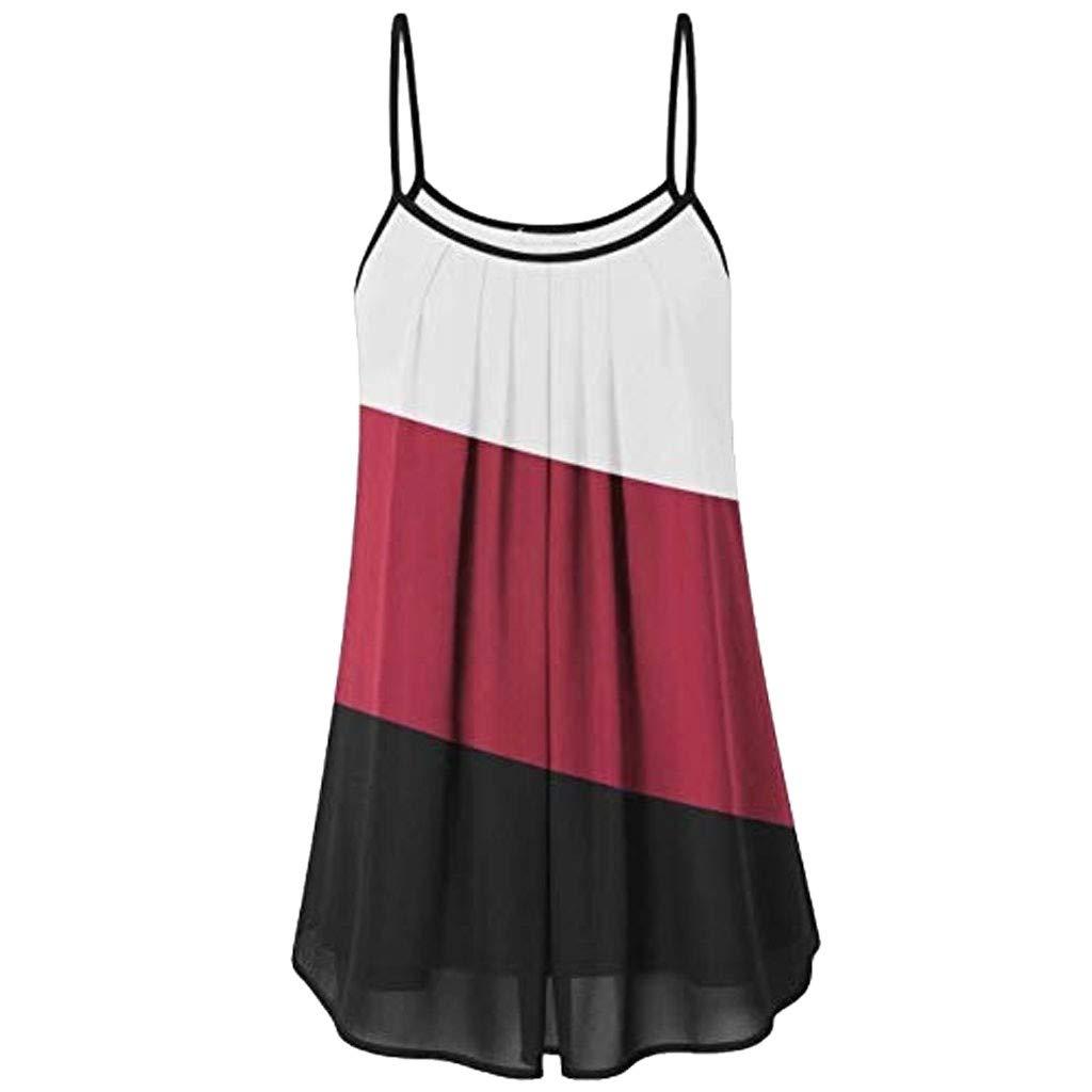 Tank Tops for Women Summer Loose Wrinkled Oblique Stripe Sleeveless Vest Blouse Casual T Shirt Red