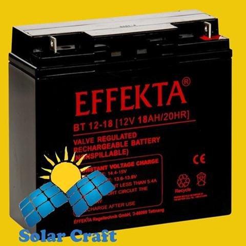 Gel de Batterie 12V 18Ah AGM Panneau solaire Chargeur é nergie photoviltaique EFFEKTA