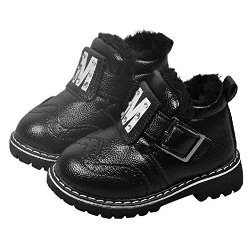 Elevin(TM)Winter Toddle Baby Boy Girl Fashion Leather Thick Warm Snow Boots Shoes (0-6M, Black)