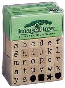 EK Success Image Tree Wood Handle Rubber Stamp Set, Antique Typewriter Alphabet/Lower