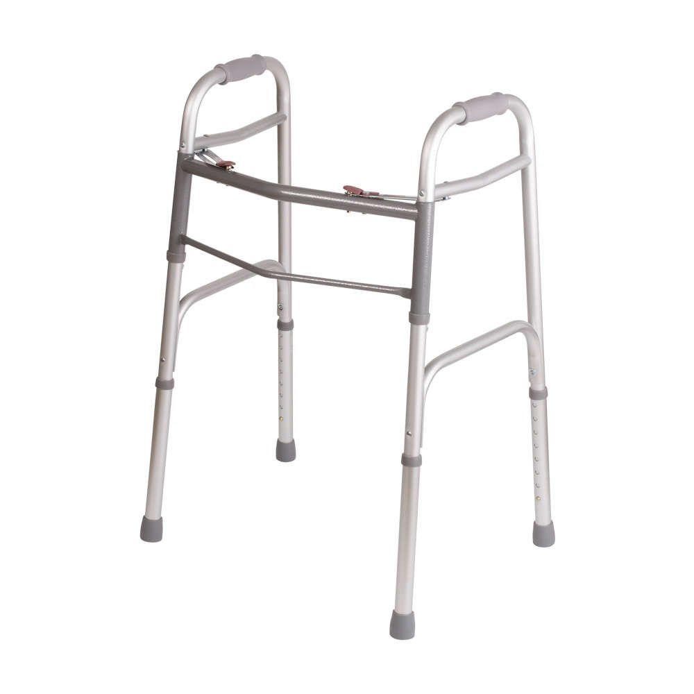 DMI Lightweight Adjustable Folding Walker for Adults with Easy Two Button Release, Silver and Gray