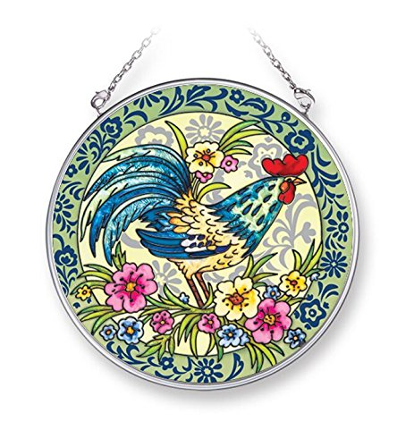 """Amia """"French Rooster"""" Hand-Painted Glass Circle Suncatcher, 4-1/2"""""""