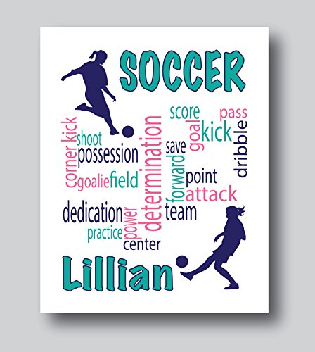 Personalized Soccer Gifts For Girls, Soccer Present for Girls, 8x10 or 11x14 Soccer Print Only, Soccer Decor For Girls Bedroom by M Design Company