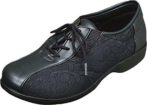 反響する溶岩代表して高齢者 靴 ウォーキングシューズ スニーカー 女性 便利 軽い 安心 補助 介護 シルバー 敬老の日 贈り物 プレゼント らくらくL007 ブラック ムーンスター/23.5cm