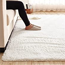 Ultra Soft 3.5cm Thicken Sherpa Soft Shag Area Rug Fluffy Living Room Carpet Bedroom Rug 55 by 78 inch-MAXYOYO Solid Shaggy Area Rug Dining Room Home Bedroom Carpet Floor Mat