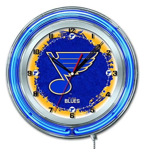Holland Bar Stool Co. St. Louis Blues HBS Neon Blue Hockey Battery Powered Wall Clock (19
