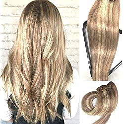 Myfashionhair Clip in Hair Extensions Real Human Hair Extensions 18 inches 70g Clip on for Fine Hair Full Head 7 pieces Silky Straight Weft Remy Hair (18 inches, #12-613)