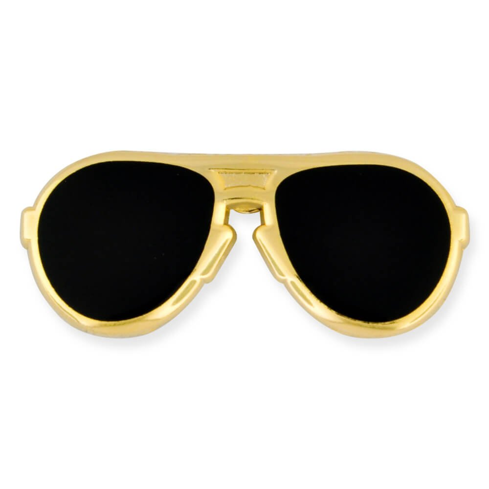 PinMart's Trendy Gold and Black Lenses Aviators Sunglasses Enamel Lapel Pin by PinMart