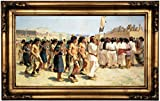 Historic Art Gallery the Harvest Dance 1893 by Joseph Henry Sharp Framed Canvas Print, 12'' x 22'', Gold Gallery