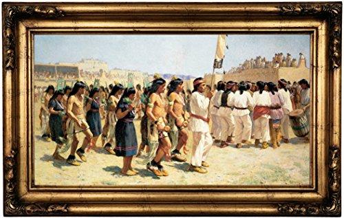 Historic Art Gallery the Harvest Dance 1893 by Joseph Henry Sharp Framed Canvas Print, 12'' x 22'', Gold Gallery by Historic Art Gallery