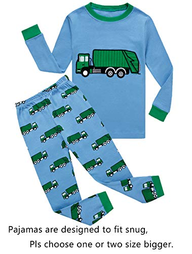 KikizYe Garbage Truck Little Boys Long Sleeve Pajamas 100% Cotton Pjs Toddler Sleepwears Size 2T -