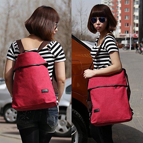 MOLLYGAN Multi-purpose Canvas Shoulder Bag Backpack School Bag Khaki by MOLLYGAN (Image #9)
