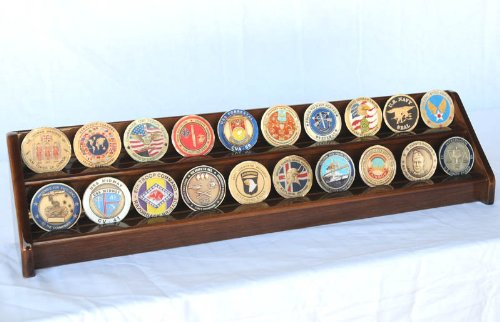 2 Rows Challenge Coin / Casino Chip Display Rack Holder -Walnut Finish by sfDisplay.com, Factory Direct Display Cases