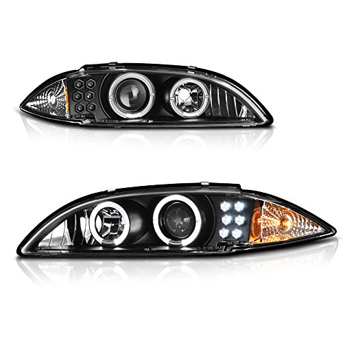 [For 1995-1999 Chevy Cavalier] LED Halo Ring Black Projector Headlight Headlamp Assembly, Driver and Passenger Side (Cavalier Projector Headlights)