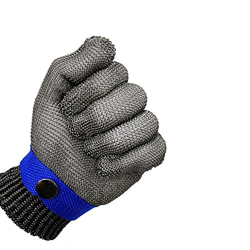 Blue Safety Cut Proof Stab Resistant Stainless Steel Metal Mesh Butcher Glove High Performance Level 5 Protection Size S