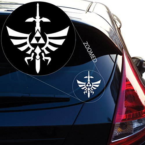 Yoonek Graphics Zelda Triforce with Sword Decal Sticker for Car Window, Laptop, Motorcycle, Walls, Mirror and More. # 554 (12