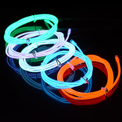 5-IN-1 Battery Operated EL Wire Light, kingleder Portable Neon Glowing Electroluminescent Wire Kits for Cosplay Dress Halloween Birthday (Tron Costume Glow Sticks)