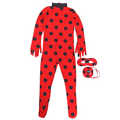 Yanhusu Child Ladybug Jumpsuit Cosplay Costume Kids Lady Bug Halloween(S:110-125)