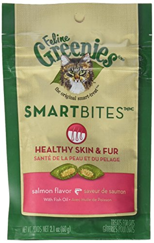 Greenies Feline SMARTBITES Skin & Fur Salmon 2.1oz - Six (6) Packages