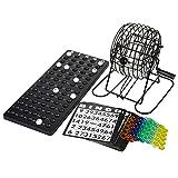 Complete Wire Cage Family Bingo Game Set - Iron Cage Bingo Game with 75 Balls, 150 Bingo Chips and 2 Bingo Boards