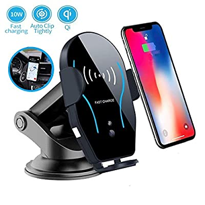 Wireless Car Charger Mount,Automatic Infrared Sensor Induction,Auto-Clamping 10W Qi Fast Charging,Air Vent Dashboard Windshield Phone Holder for iPhone Xs Max XR X 8 Plus,Galaxy S10 S9 S8 Note 9/8