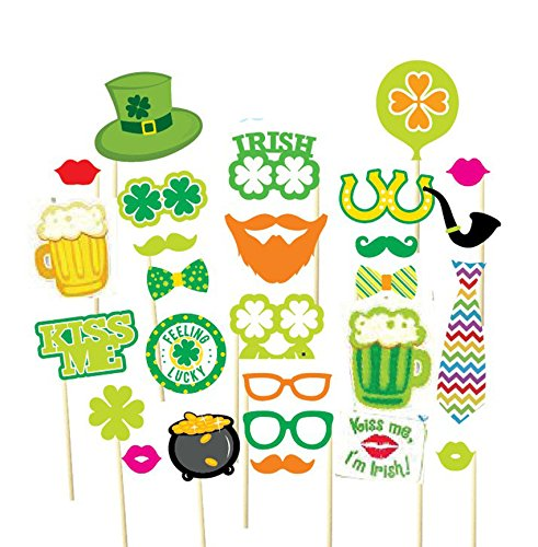 EBTOYS St Patrick's Photo Booth Props Party Photo Booth for Irish Beer Festival Sharmrock Props on A Stick,27pcs