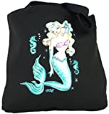 Yujean Fluff Blond Mermaid With Green Tail Cotton Tote Bag Black