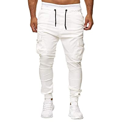 Usstore Elastic Bottom Sweatpant for Men's Joggers Drawstring Pants Running Sports Trousers Cargo Pants: Clothing