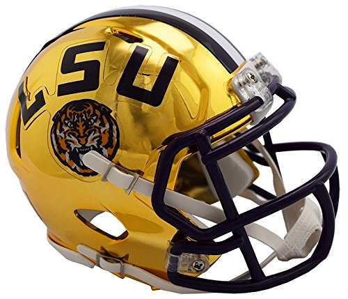 (LSU Tigers NEW 2018 Alternate Chrome NCAA Riddell SPEED Mini Helmet)