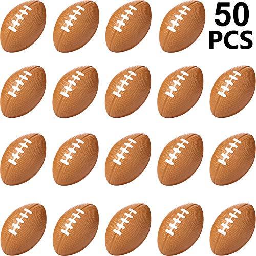 Sports Stress Ball, Mini Foam Sports Ball, Foam Sports Ball for School Carnival Reward, Party Bag Gift Fillers (Football, 50 Packs)