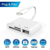 Elecjoy 3 in 1 Kartenleser, Lightning auf USB Kamera Connection Kit Speicherkarte, SD/TF, Reader, Trail Spiel Kamera SD Kartenleser Adapter Kabel, USB 2.0 OTG Adapter Kabel für iPhone & iPad (White)