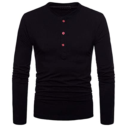ef8edf23c7f Easytoy Men s Casual Long Sleeve Henley Shirt Regular Fit Button Baseball T-Shirts  Tee Undershirt