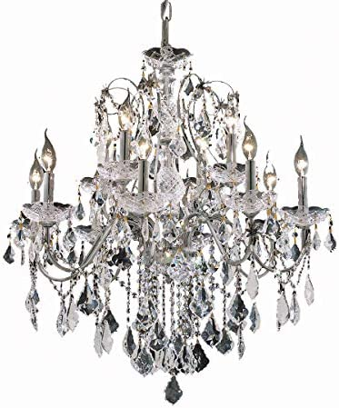 Elegant Lighting 2015D28C EC Two-Tier Cut Clear Crystal Chandelier, St. Francis 12-Light, 28 x 28 , Finished in Chrome with Clear Crystals