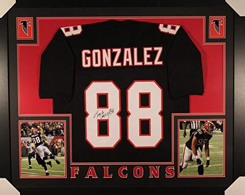 Tony Gonzalez Autographed Atlanta Falcons Framed XL Black Jersey JSA ()