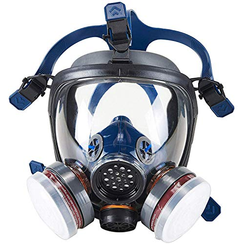 Organic Vapor Full Face Respirator Safety Mask, IVSUN Double Activated Carbon Respirator Paint Respirator Gas Chemical Dustproof Mask (Respirator +1 Pair LDY3 Cartridges)
