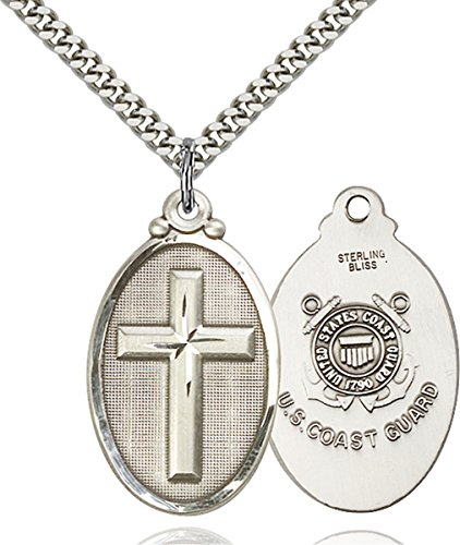 Sterling Silver Christ Cross United States Coast Guard Medal Pendant, 1 1/4 Inch
