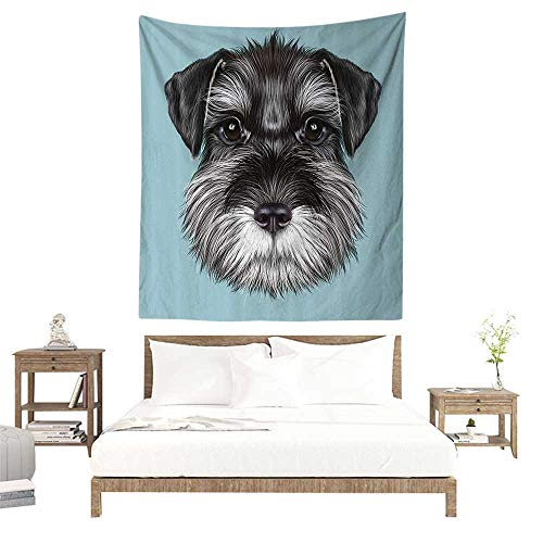 alisoso Wall Tapestries Hippie,Animal,Illustration of a Cute Baby Schnauzer on Blue Background Puppy Portrait,Light Blue Black White W40 x L60 inch Tapestry Wallpaper Home Decor