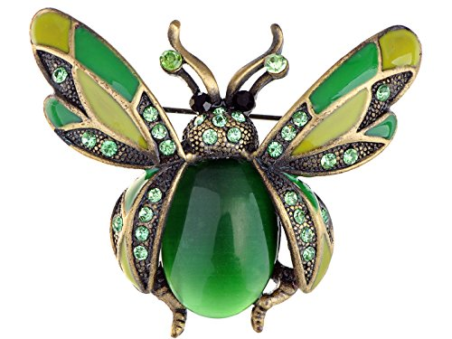 (Alilang Peridot Green Crystal Rhinestone Ladybug Fly Insect Fashion Jewelry Brooch Pin)