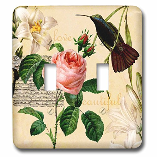 Hummingbird Toggle Light Switchplate - 3dRose LSP_63549_2 Beautiful Hummingbird with Lilies and a Pink Rose Double Toggle Switch