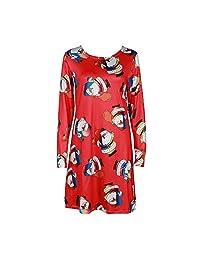 Women Xmas Print Swing Dress Ladies Christmas Long Sleeve Flared Party Dresses