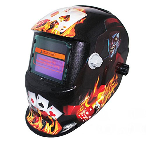 Youareking Adjustable Auto Darkening Solar Power Welding Helmet Forest Camo Arc Tig Mig Mask with 2pcs Extra Lens Covers (Devil of Gamblers)