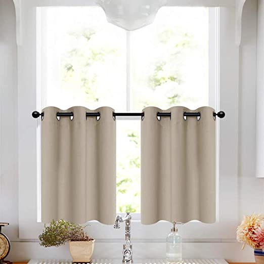 Amazon Com Taupe Tier Curtains 36 Inch Grommet Top Short Curtains Bathroom Small Window Curtain Tiers Room Darkening Cafe Curtains Kitchen Windows 2 Panels Furniture Decor,Color Chart Shades Of Dark Purple