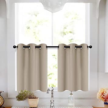 Taupe Tier Curtains 36 inch Grommet Top Short Curtains Bathroom Small  Window Curtain Tiers Room Darkening Cafe Curtains Kitchen Windows, 2 Panels