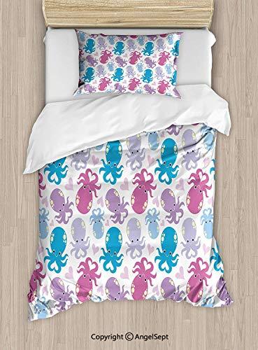 Elite Image Cd - Homenon Duvet Cover Set Twin Size,Cute Cartoon Marine Animals Heart Shaped Love Theme Image Decorative Bedding Kit with PillowcaseDecorative 2 Piece Bedding Set with 1 Pillow Sham,