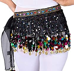 Belly Dance Hip Scarf In Black With Hanging Sequins