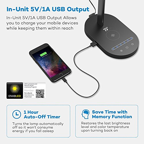 TaoTronics TT-DL031 LED Desk Wireless Charger, Metal Table Lamp with 5 Color Modes & 6 Brightness Levels, USB Charging Port, 1H Timer, Official Member of Philips Enabled Licensing Program, Black by TaoTronics (Image #5)